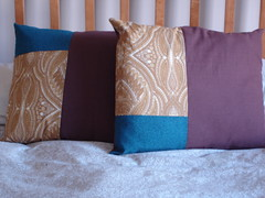 New pillows from quilting scraps and an old bed pillow
