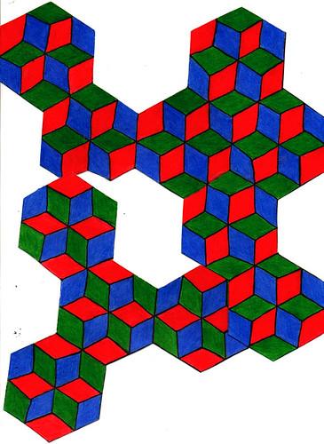 rgb hexagon stair