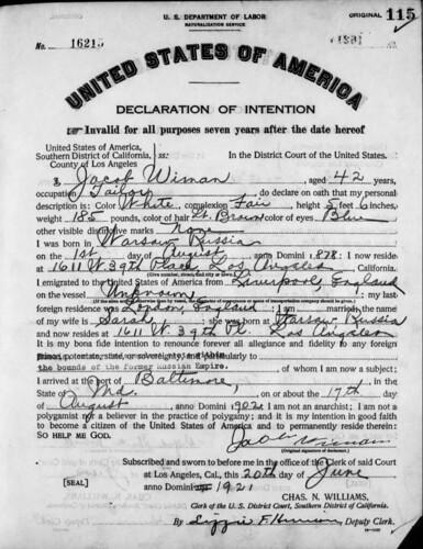 WIMAN_Jacob_Declaration of Intention (1921)