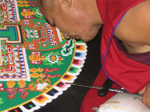 Sand Mandala made at the Dalai Lama visit to Nottingham in 2008. Photo: RSR