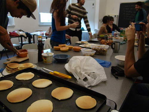 Making pancakes in class