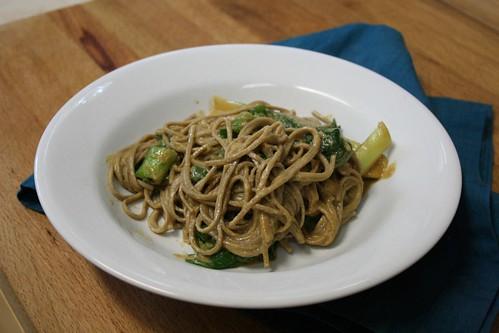 Soba noodles and bok choy