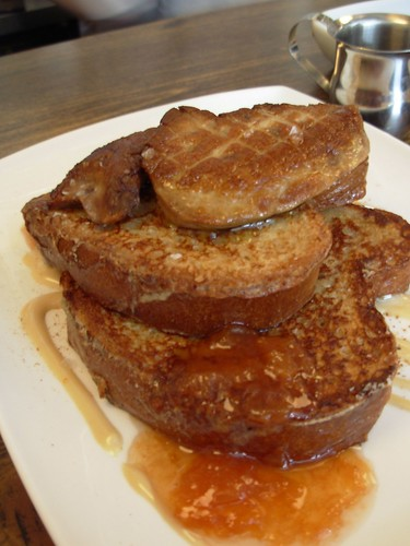 Brioche french toast with seared foie gras, apricot compote
