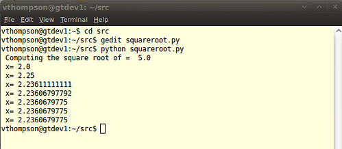 Squareroot Example Python Program