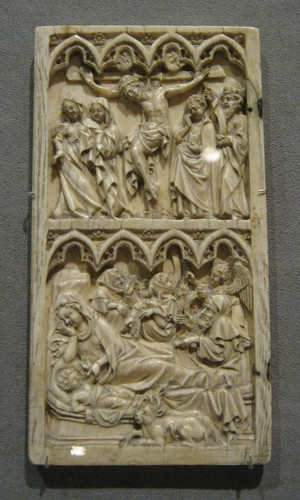 Leaf from an Ivory Diptych with the Crucifixion and Nativity, by peterjr1961
