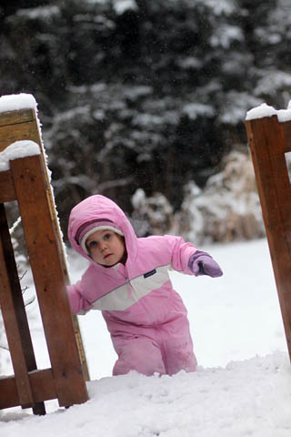 Taking a break -- playing in the snow!