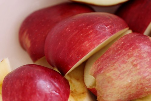 quartered apples
