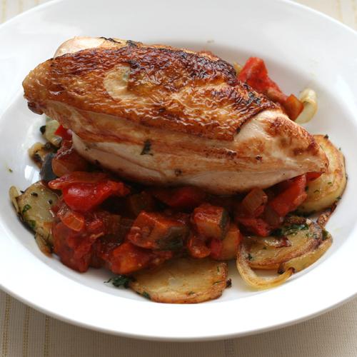 chicken with ratatouille & crispy potatoes