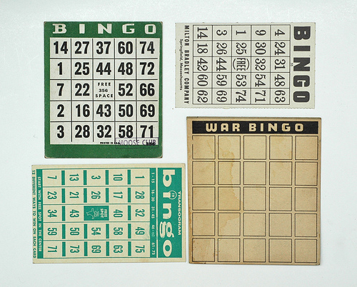 Vintage Bingo Cards from A Collection A Day, 2010