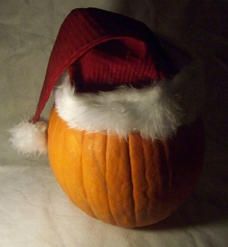 pumpkin with Santa hat