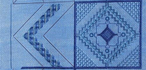 Woven stitches create the V