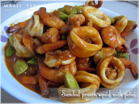 Sambal prawn-squid with petai
