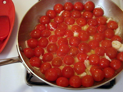 cherry tomatoes, green garlic, butter