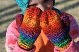 Rainbow toddler mittens