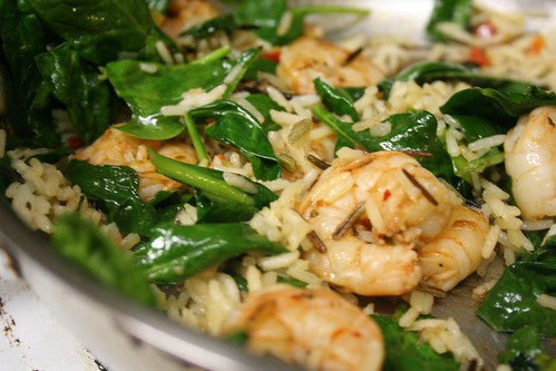 Rice and spinach and shrimp, hanging out