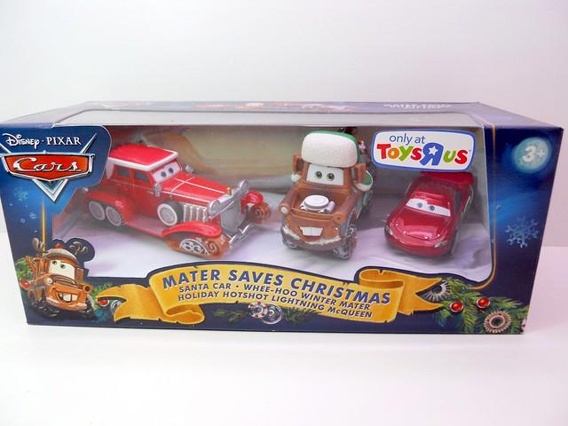 DISNEY CARS TOYS R US MATERS SAVES CHRISTMASD SANTA CAR, WOOHEE MATER HOT SHOT LIGHTNING MCQUEEN (1)