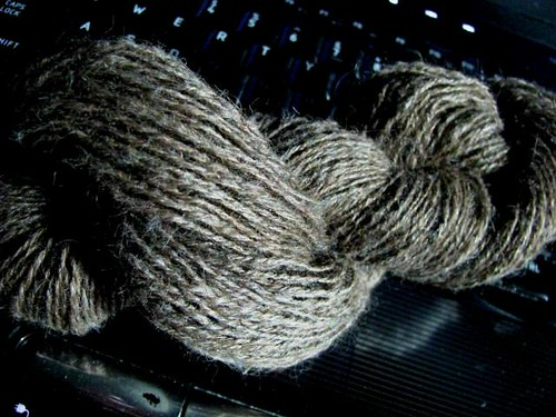 Handspun 3-Ply Lace Jacob & Silk Thread in Hank
