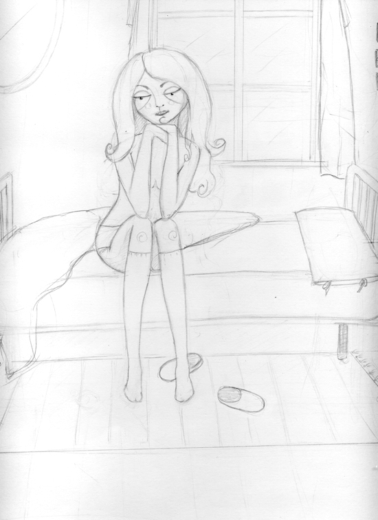 step 2 sketch of dollhouse girl in step-by-step process