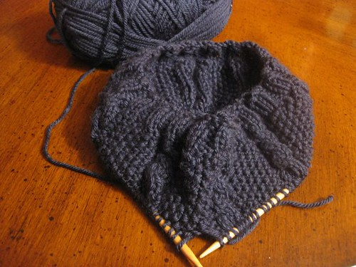 Slouchy Moss Cable Beret1