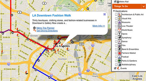 Experience LAs new Google maps mashup presents events and transit alongside eachother.