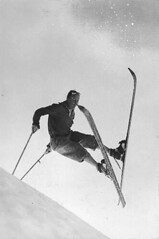Ken Syverson on skis at Paradise Park, Mount Rainier