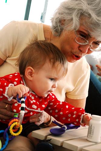 Playing with grandma.