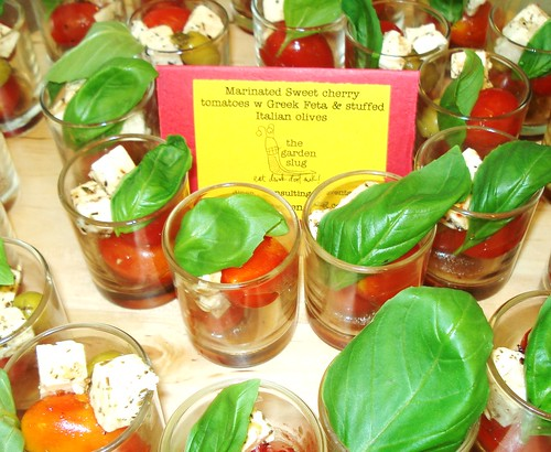 Marinated Sweet Cherry Tomatoes w/ Greek Feta & stuffed Italian olives in little shot glasses