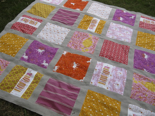 Fairytale Quilt Top from the grass