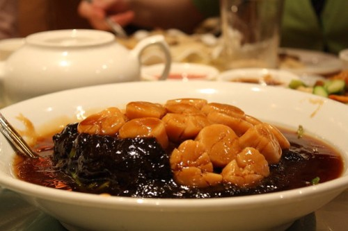 Jade Asian - Scallops with Fungi over Spinach