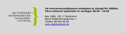 24-timmarsmyndighetens webbplats är stängd för tillfället (en vanlig måndag kl 10)