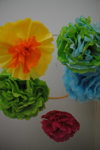 tissue paper flowers for baby mobile