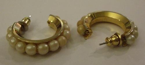 Vintage Earrings Hoop Pearls