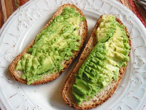 vocado spread on toasted slices
