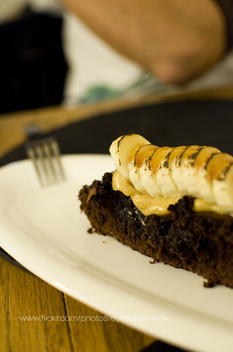 brownie with peanut butter mousse and brule banana