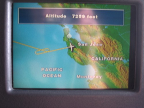 Flying into San Francisco. Even with a few circles over the ocean, the flight got in early.