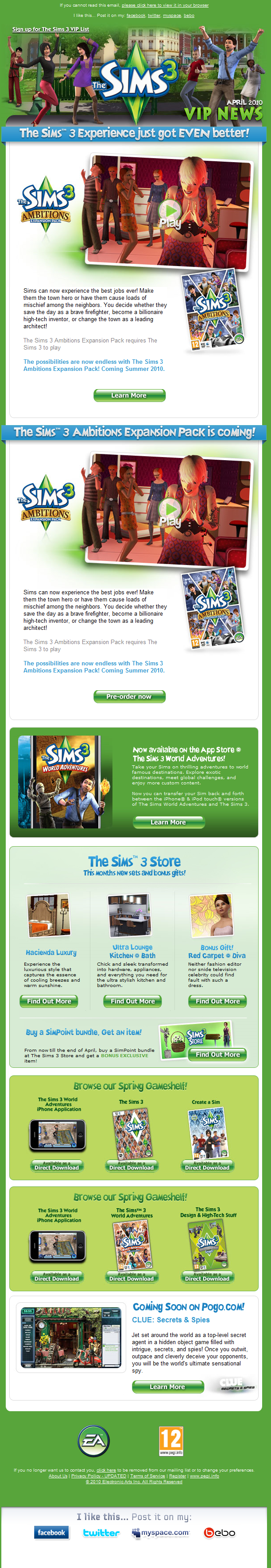 The Sims 3 VIP Newsletter - April 2010