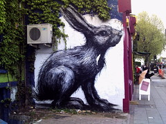 Giant Rabbit on Hackney Road by ROA