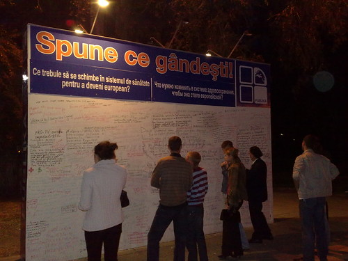 Public TV comment board in Chisinau