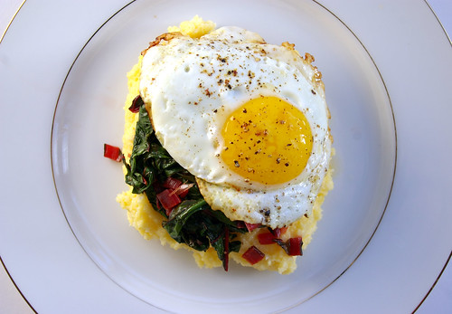 Polenta and chard with egg