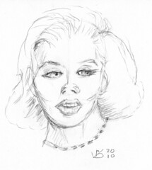 front view portrait of a woman, drawn on April 19,2010 (sketch 3)
