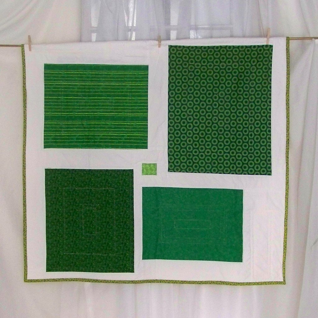 Quilt - Emerald Green Color Block Modern Design