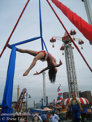 Aerialist at Luna Park's Opening Ceremony.May 28, 2010. Photo © Tricia Vita/me-myself-i