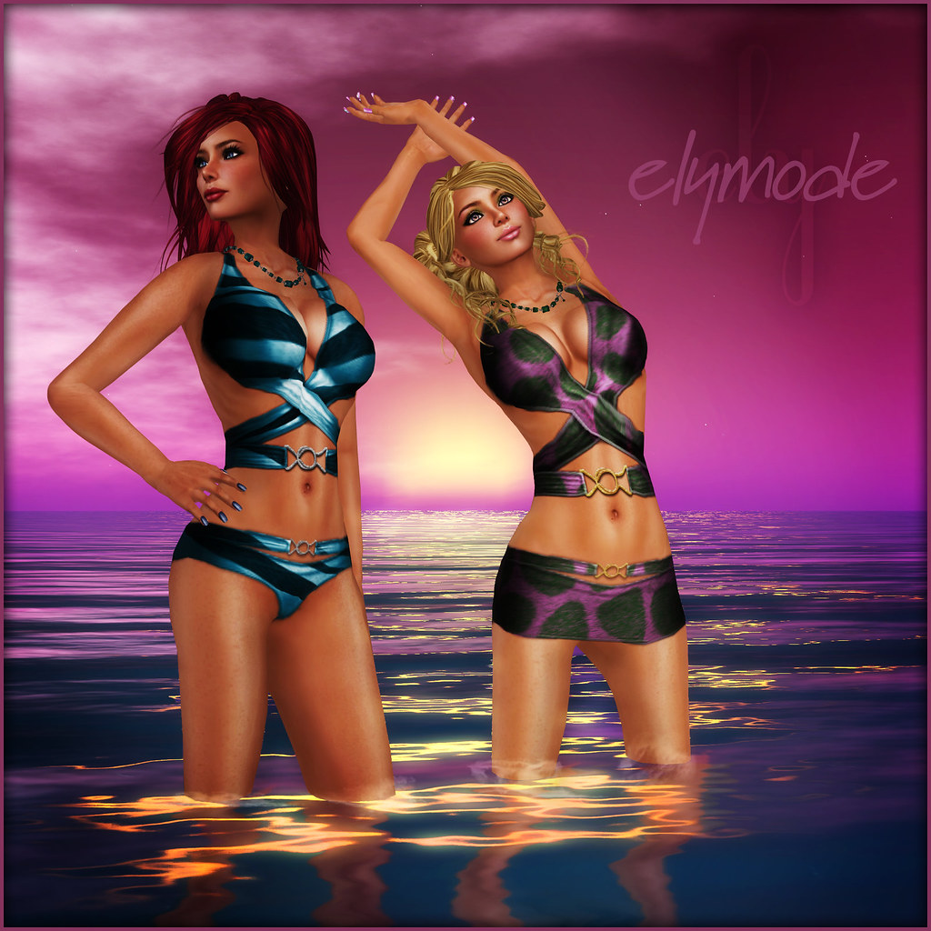 *elymode* wrapped swimsuit with skirt