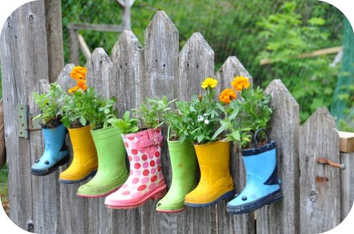 Rubber boot flower planter
