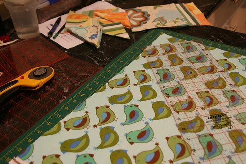 Cutting quilt pieces 1