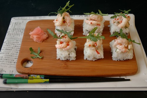 pressed sushi with prawn and rocket