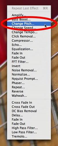 Audacity - Effect menu