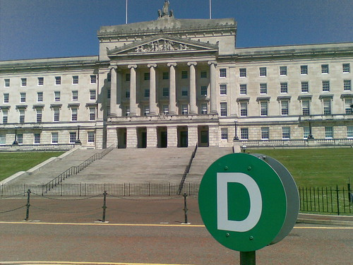 Front steps at entrance to Parliament in Belfast