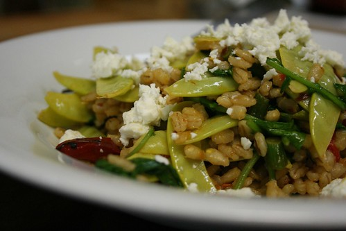 Spicy Barley with Snow Peas and Feta