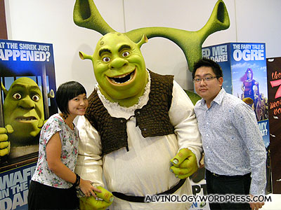Shrek looks really scared of us...